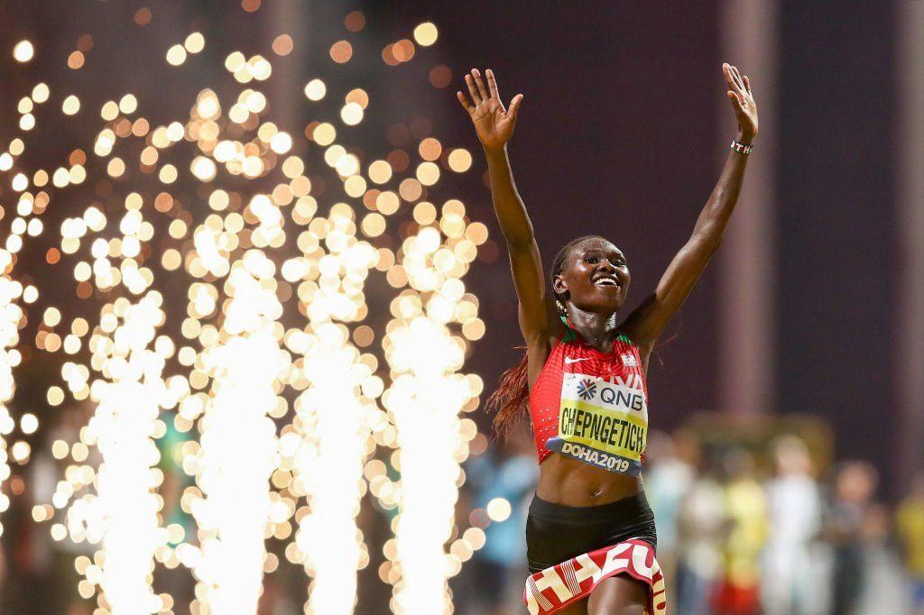 Ruth Chepngetich of Kenya celebrates winning the Women's Marathon during day one of 17th IAAF World Athletics Championships Doha 2019 at Khalifa International Stadium