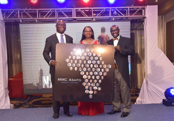 MMC Asafo Team Leader Edward Muriu (left), MMC Asafo Managing Partner Esther Omulele and Asafo & Co. Founding Partner Pascal Agboyibor during the launch of MMC Asafo.