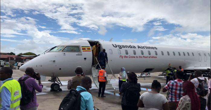Uganda Airlines Maiden Flight Lands in Mombasa, Eyes Tourism Sector