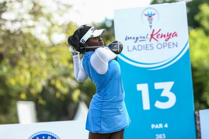 Lakareber Ake in action during the 1st round of the Magical Kenya Ladies Open