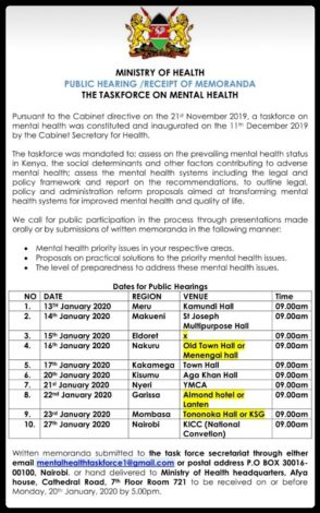 Public hearings on the state of mental health in Kenya