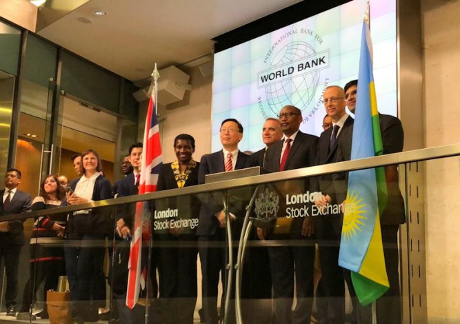 The London Stock Exchange Monday listed the inaugural $40 million Bond in Rwandan Franc issued by the World Bank