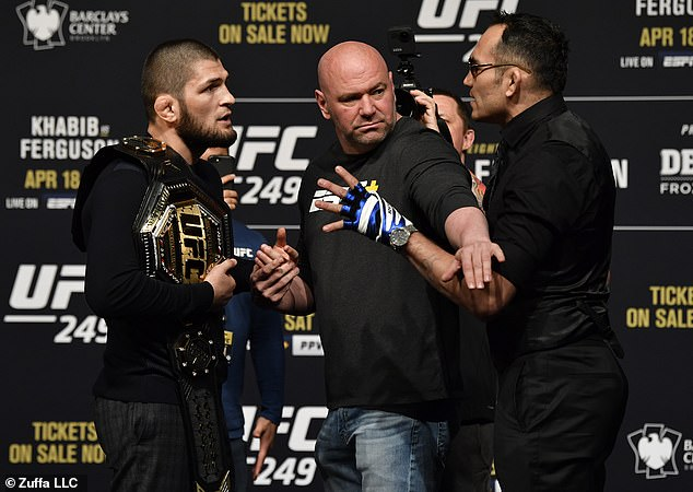 Khabib and Ferguson charge at each other