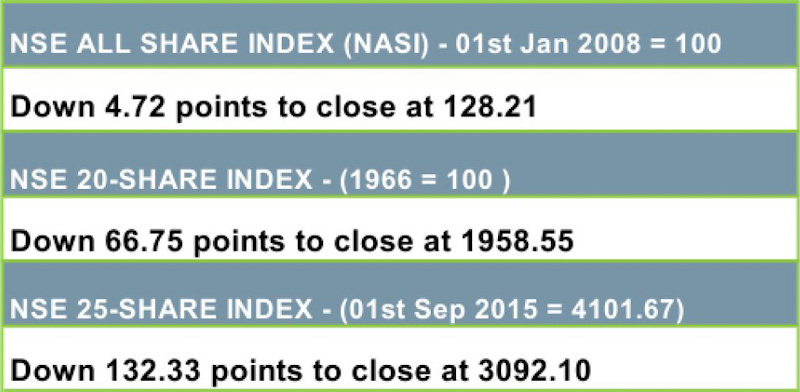 NSE 20 Share Index Drops