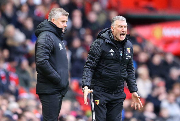 Premier League Managers Ole Gunnar (United) and Pearson (Watford FC) at a previous fixture