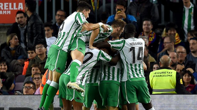 Real Betis Players celebrate a goal at a LaLiga fixture