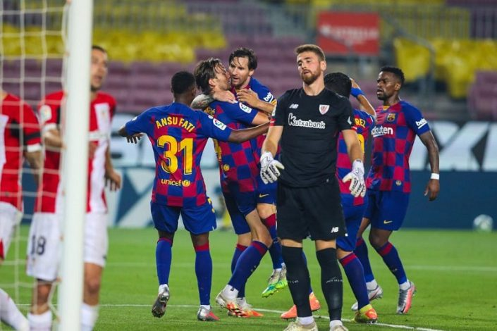 Barcelona edge Athletic Bilbao to go back top of the Table