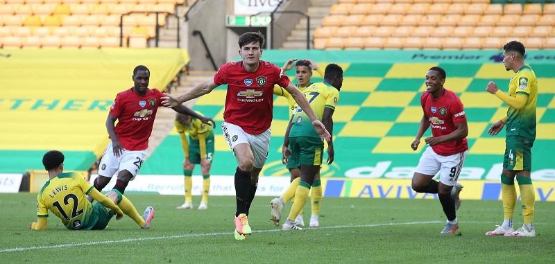 Harry Maguire celebrates goal
