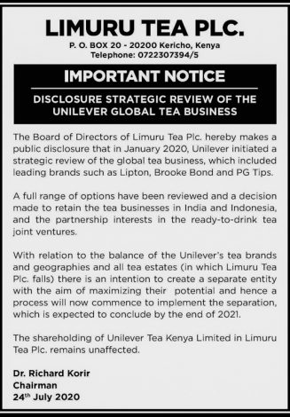 Unilever to Retain Limuru Tea Business After Separation