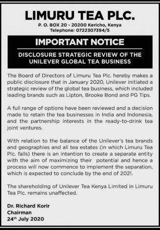 Unilever to Retain Limuru Tea Business After Separation