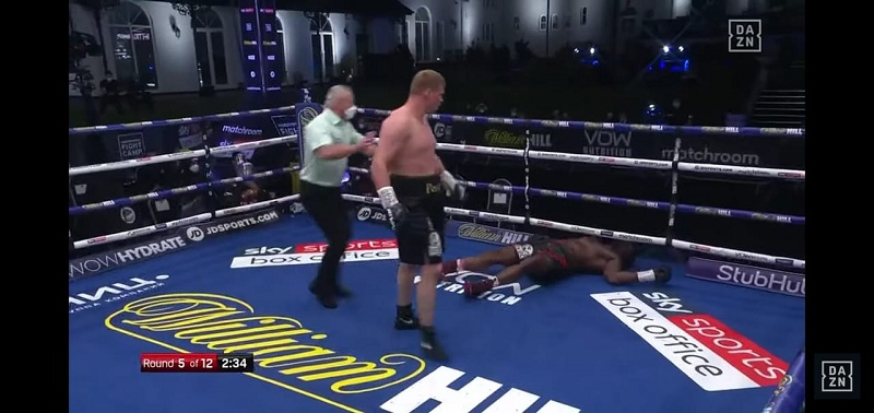 Povetkin stuns Whyte with a fifth round knockout.