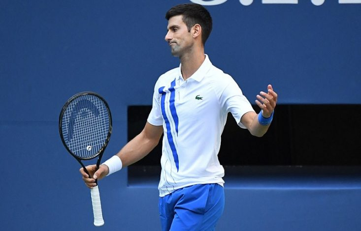 Djokovic disqualified for hitting ball at line judge at US Open.