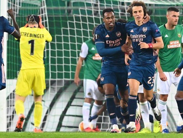 Pierre Emerick Aubameyang and David Luiz give Arsenal 2-1 win over Rapid Vienna