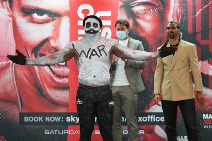Derek Chisora wears 'WAR paint' at weigh-in ahead of clash with Oleksandr Usyk on Saturday night