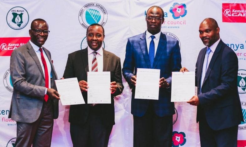 Kenya's horticultural exporters and Kenya Airways on Monday inked an agreement to boost the country's exports