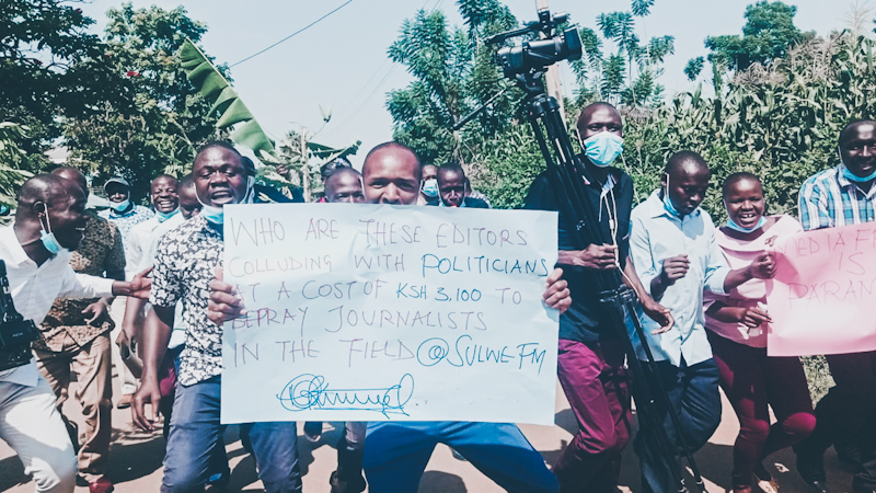 Journalists from Bungoma County took to the streets Monday to protest persistent attacks against journalists and media independence.