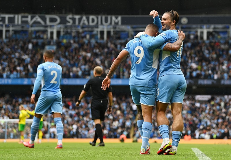 Jack Grealish on target as Manchester City beat Norwich 5-0