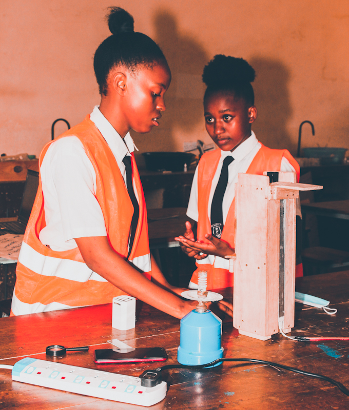 Sabrina Chepkemoi and Marrieta Halima of St. Thomas Girls Secondary School in Kilifi County have been crowned Young Scientists of the Year for the best innovation at the 2021 Young Scientists Kenya National Science and Technology Exhibition.